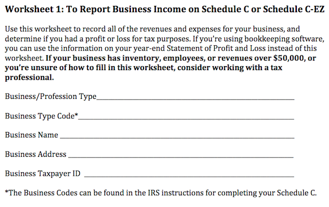 Report Business Income Worksheet